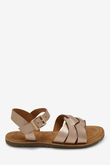 Rose Gold Woven Leather Sandals