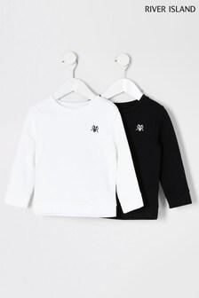 River Island Black Long Sleeve Embellished Sweat Top 2 Pack