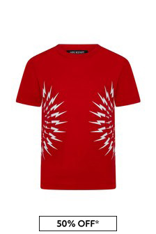 Neil Barrett Boys Red Cotton T-Shirt