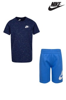 Nike Little Kids Blue Marl T-Shirt And Shorts Set