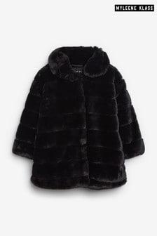 Myleene Klass Kids Black Faux Fur Coat