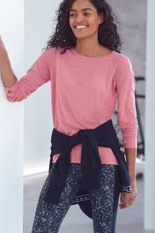 Pink Neppy Long Sleeve Sports Top