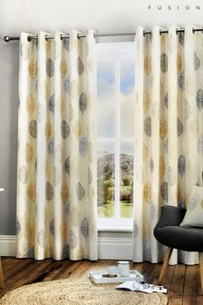 Fusion Skandi Leaf Lined Eyelet Curtains