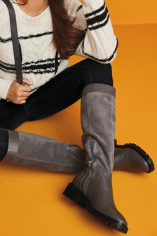 Grey Signature Knee High Mixed Material Boots