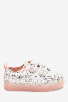 White Doodle Canvas Trainers (Younger)