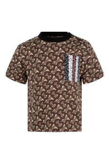 Baby Boys Brown Bridle Print Cotton T-Shirt