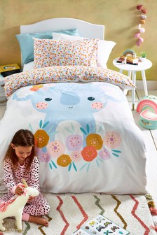 Floral Koala Reversible Duvet Cover and Pillowcase Set