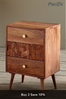 Pacific Sheesham Wood Honeycomb Design Bedside Unit