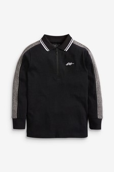 Black Long Sleeve Tape Poloshirt (3-16yrs)