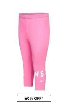 MSGM Baby Girls Pink Cotton Leggings