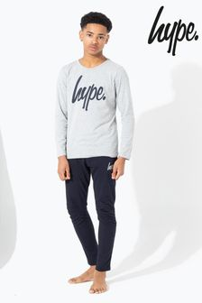 Hype. Grey With Black Script Kids Pyjama Set