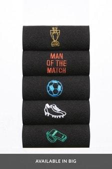 Black Football Embroidered Socks Five Pack