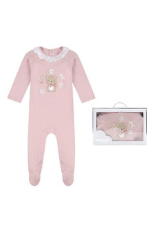 Girls Pink Cotton Teddy Babygrow