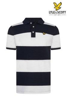 Lyle & Scott White Wide Stripe Poloshirt
