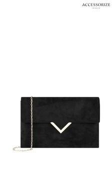 Accessorize Black Natalie Suedette Clutch Bag