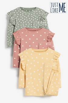 Multi 3 Pack Spot/Star/Heart Rib Ruffle Pyjamas (9mths-12yrs)