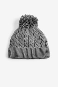 Grey Cable Hat With Pom (0mths-2yrs)