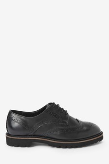 Black Leather EVA Chunky Sole Lace-Up Shoes