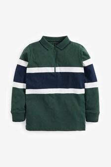 Khaki Colourblock Zip Neck Polo (3-16yrs)