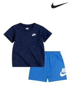 Nike Infant Blue Marl T-Shirt And Shorts Set