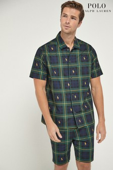 Polo Ralph Lauren Navy/Green Pony Player Plaid Check Pyjama Set