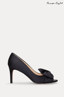 Phase Eight Blue Meaghan Satin Bow Peep Toe Shoes