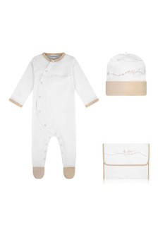 Baby Beige Cotton Babygrow With Pouch