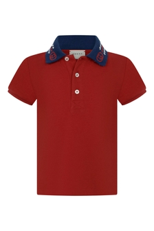 Baby Boys Red Piquet Embroidered Collar Polo Top