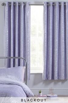 Velvet Animal Pattern Eyelet Blackout Curtains