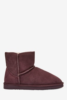 Chocolate Suede Slipper Boots