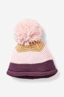 Multi Stripe Pom Knitted Hat (0mths-2yrs)