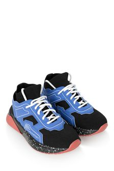 Boys Black And Blue Colourblock Trainers