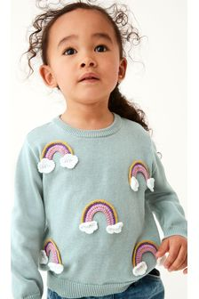 Teal Crochet Rainbow Jumper (3mths-7yrs)