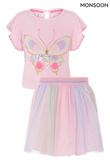 Monsoon Pink Butterfly Top And Skirt Set