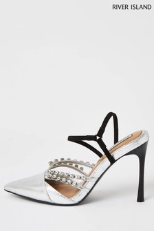River Island Silver Gem Detail Court Shoes