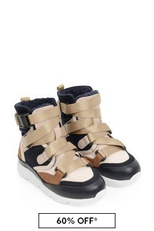 Girls Navy And Pink Leather High Top Trainers