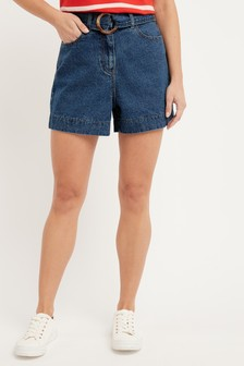 Dark Blue Belted High Waist Denim Shorts