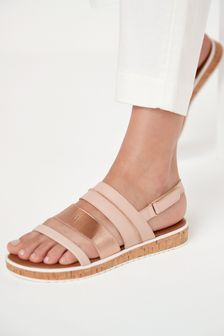 Rose Gold Regular/Wide Fit Forever Comfort® Cork Effect Flatform Sandals