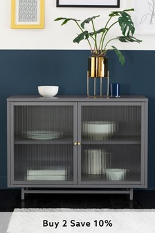 Grey Metal Glazed Display Cabinet