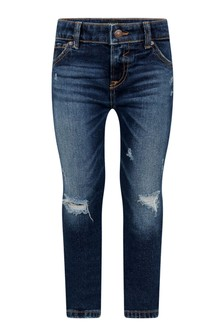 Boys Blue Cotton Denim Skinny Fit Jeans