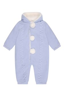 Baby Boys Blue Wool Knitted Pram Suit