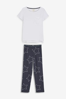 Navy Star Cotton Blend Pyjamas