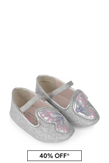 Baby Girls Silver And Pastel Butterfly Shoes