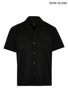 River Island Black Tencel Revere Shirt