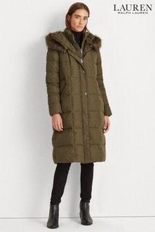 Lauren Ralph Lauren® Quilted Maxi Faux Fur Trim Coat