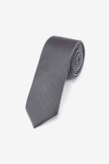 Grey Slim Twill Tie