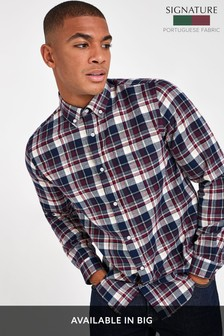 Navy/Burgundy Regular Fit Brushed Flannel Check Long Sleeve Shirt