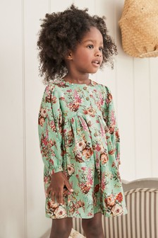 Mint Floral Volume Sleeve Dress (3mths-7yrs)