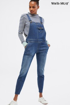 White Stuff Blue Slim Denim Dungarees