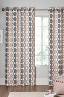 Circle Geo Print Eyelet Curtains